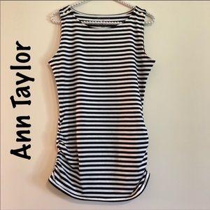 EUC Ann Taylor striped side ruching T-shirt sz med